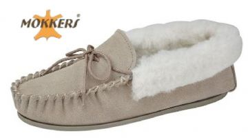 Ladies Real Suede Leather Moccasin Wool Lining  Hard-wearing Sole  STONE